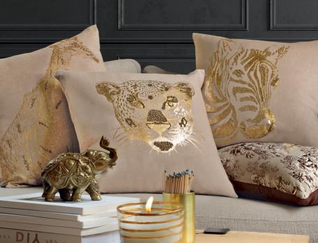 Kissen-rechteckig bedruckt Goldene Safari Linvosges