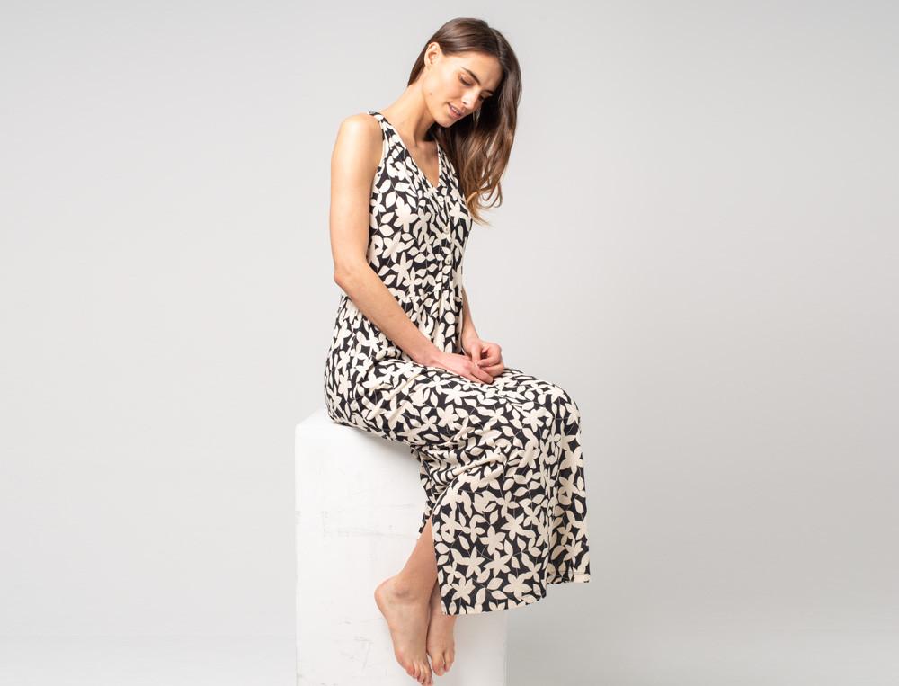 Langes Kleid bedruckt V-Ausschnitt Sommerfreude