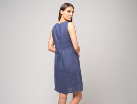 Kleid marineblau Leinen Strandtag