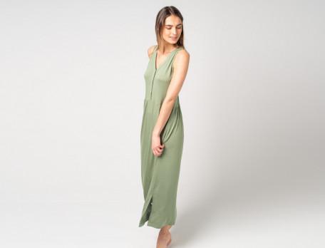 Langes Kleid olivgrün mit breiten Trägern Sommerfreude
