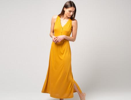 Langes Kleid V-Ausschnitt safran Sommerfreude