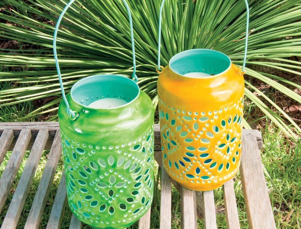Lanterne intérieur turquoise À l'ombre des canisses