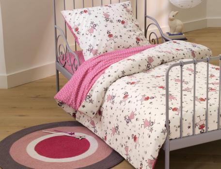 Parure de lit enfant imprimé 100% coton Les petites fées