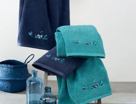Linge de bain brodé 100% coton 600g/m2 Baies célestes