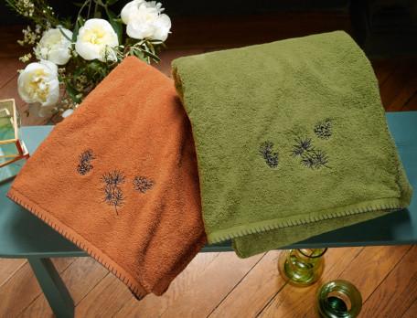 Linge de bain brodé 100% coton 600g/m2 Forêt de Marly