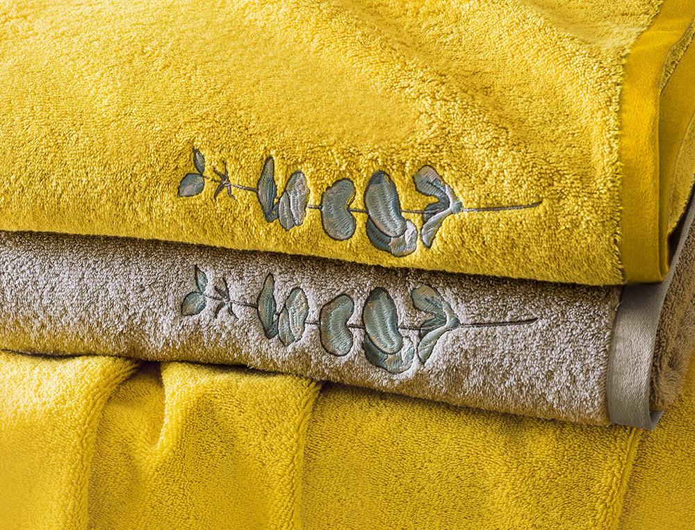 Linge de bain 100% coton brodé Chlorophylle