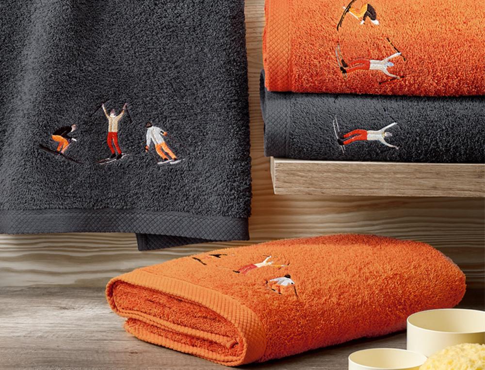 Linge de bain brodé 100% coton 600g/m2 Piste noire
