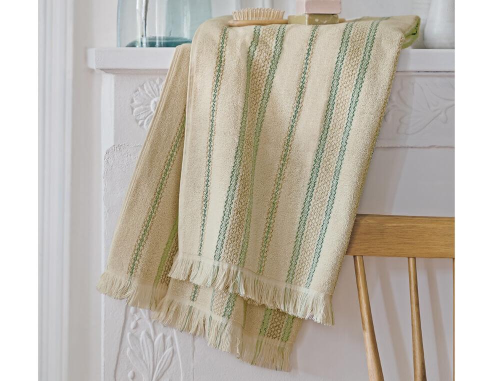 Linge de bain 100% coton tissé-teint aux rayures verticales  Hendaye
