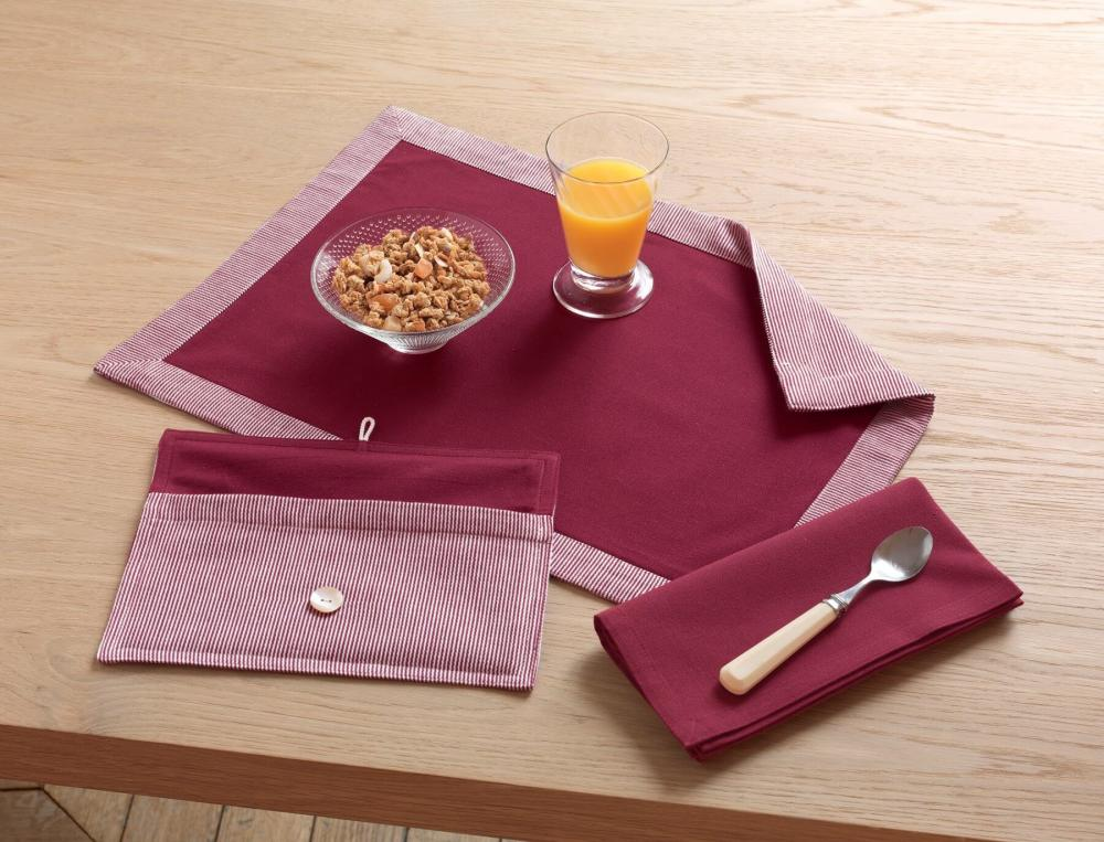 Lot set de table rayé et serviette de table unie rouge Chef