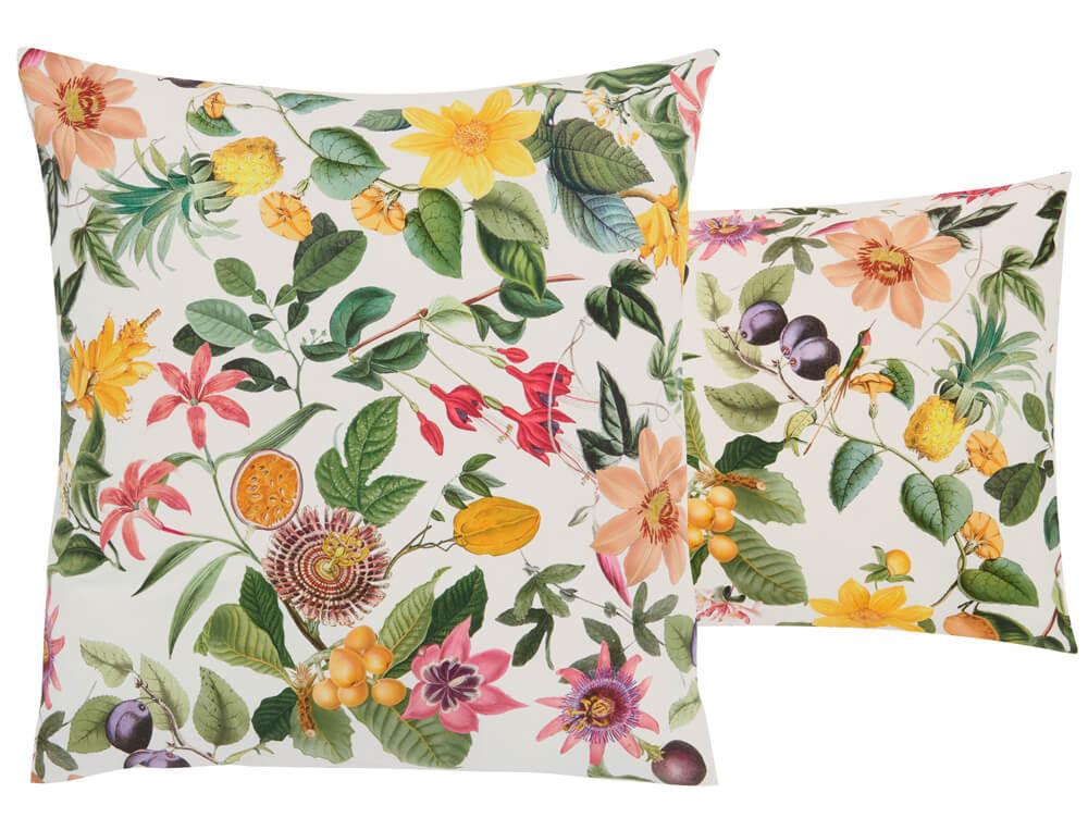 Linge de lit percale imprimé de fleurs et uni blanc À la folie