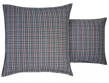 Linge de lit percale aux rayures et carreaux tissé-teint, uni potimarron À Manhattan