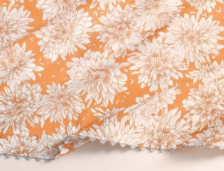 Linge de lit fleuri Abricotée