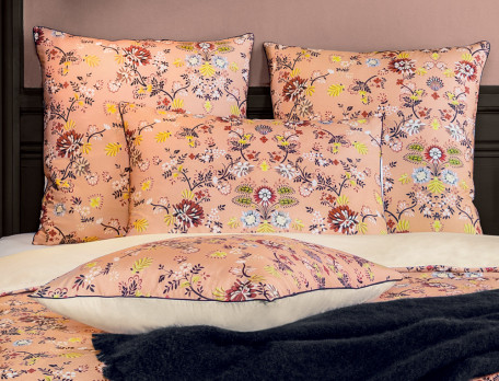Linge de lit percale imprimé et dos uni Ambre