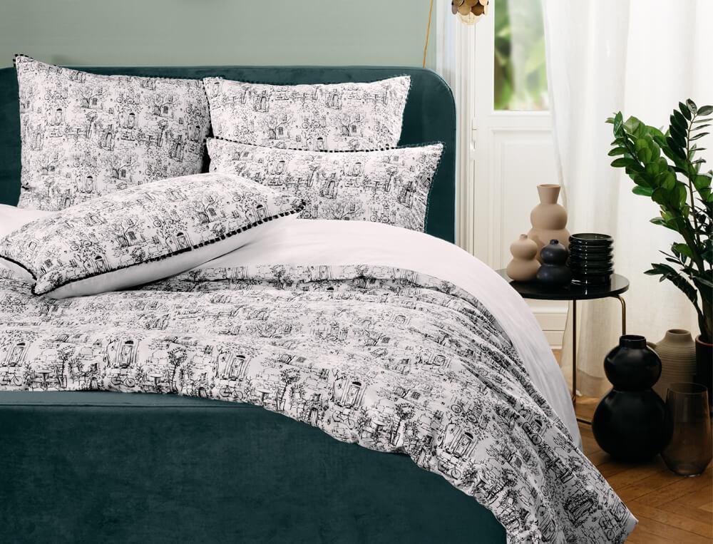Linge de lit percale imprimé au trait noir sur fond blanc Au pied de la butte