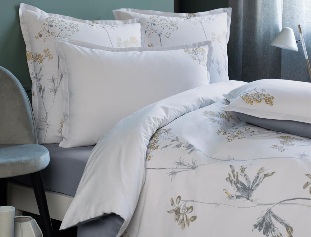 Linge de lit percale imprimé et brodé Belle d'hiver