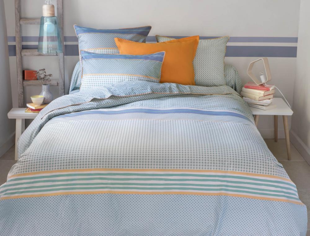 Linge de lit imprimé Bleu horizon
