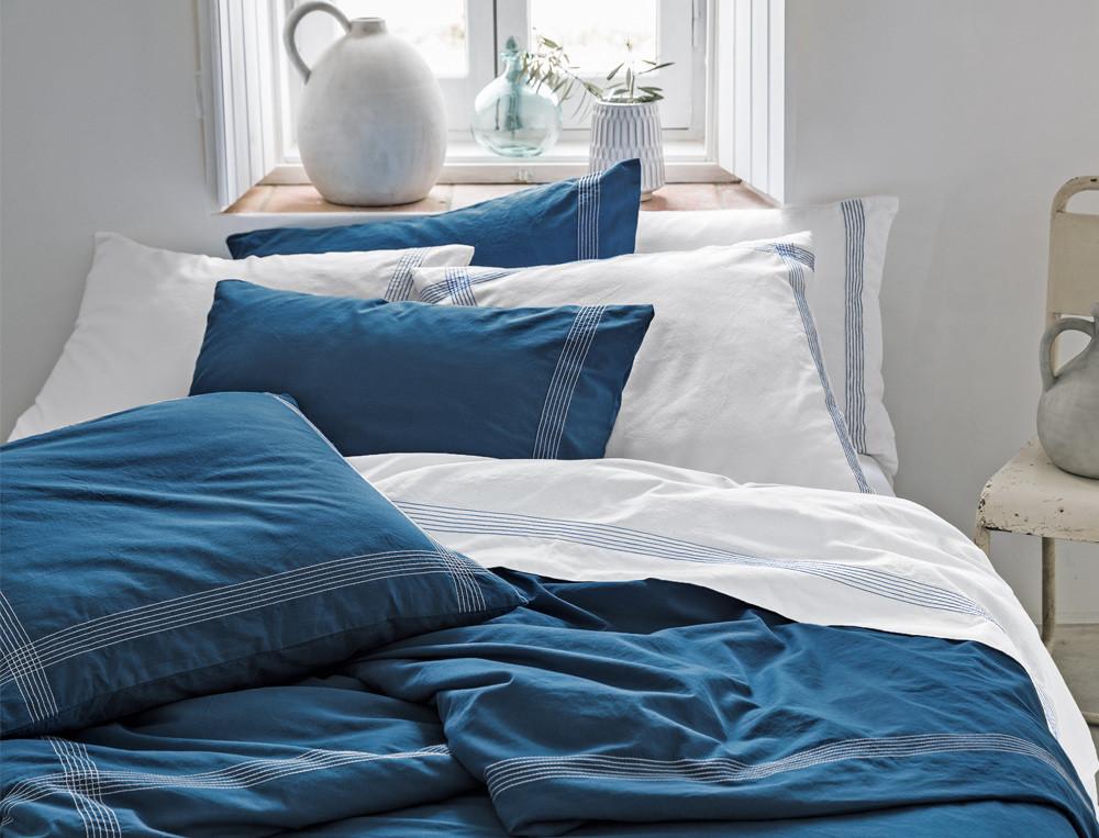 Linge de lit coton lavé Bleu océan