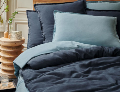 Linge de lit aspect froissé et piqûre fantaisie Coton cachemire