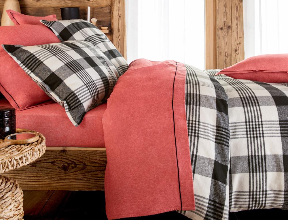 Linge de lit flanelle à carreaux et uni Courmayeur