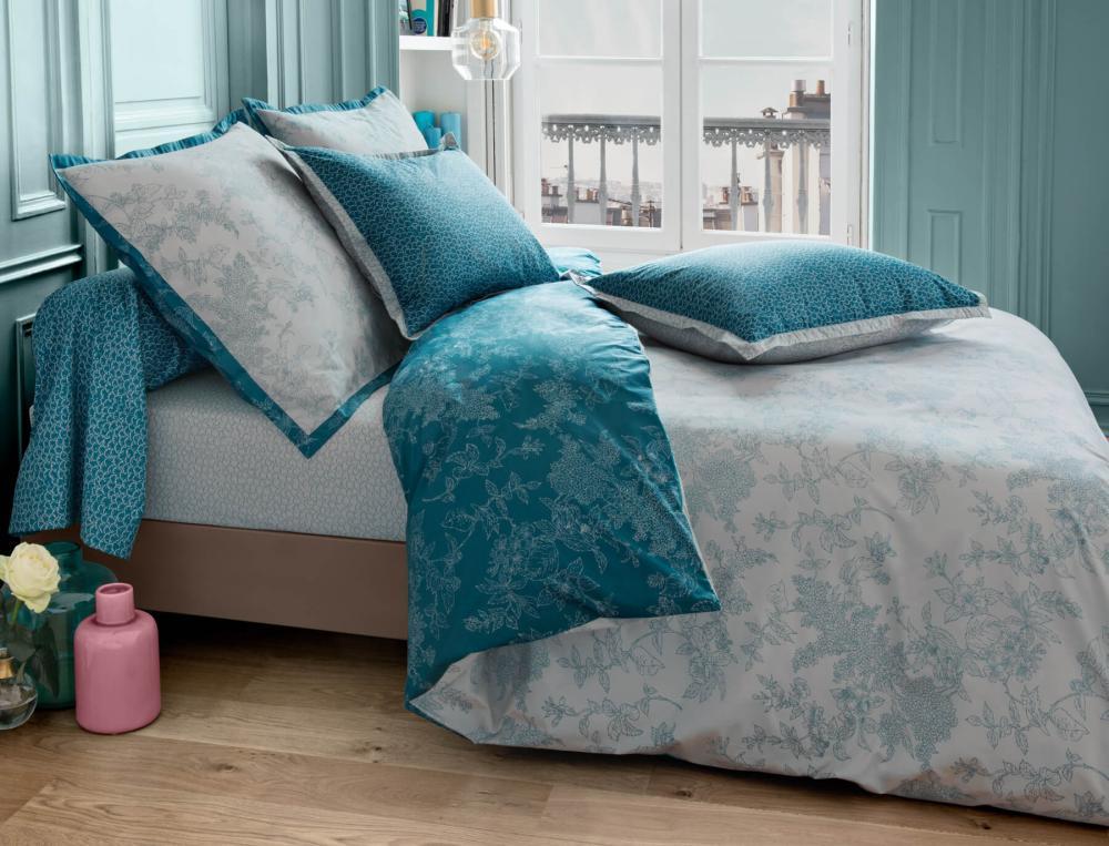 Linge de lit imprimé En bleu de Prusse