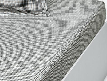 Linge de lit écossais et chambray En gris majeur