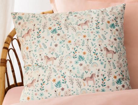 Linge de lit enfant imprimé 100% coton Au pays des licornes