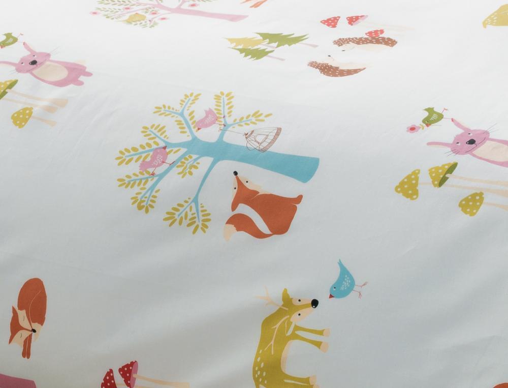 Taie d'oreiller enfant 100% coton Les animaux de la forêt