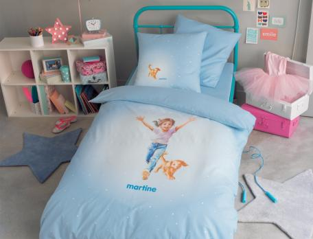 Parure de lit enfant imprimé 100% coton Martine