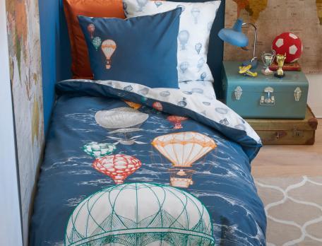 Parure de lit enfant coton Voyage en Montgolfière