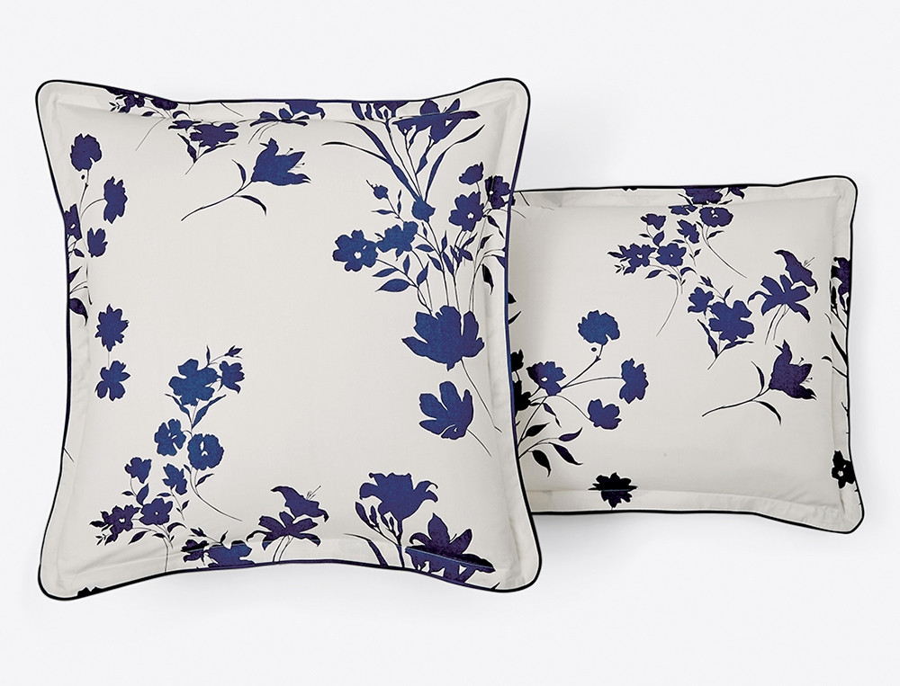 Linge de lit percale Fleur indigo