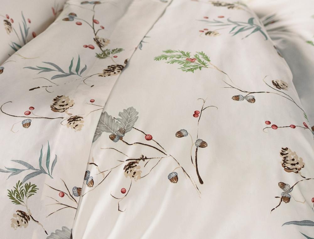 Linge de lit percale imprimé Forêt des Vosges