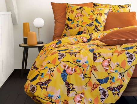 Taie d'oreiller unie percale coton Happiness