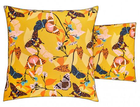 Linge de lit imprimé papillon et uni terre cuite percale lavée Happiness