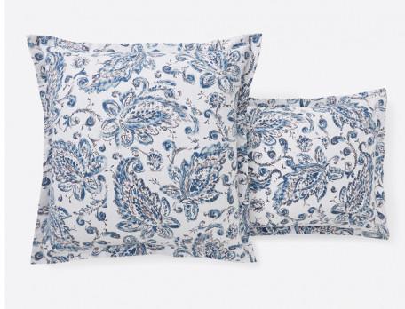 Linge de lit flanelle imprimé cachemire et uni bleu Kerala