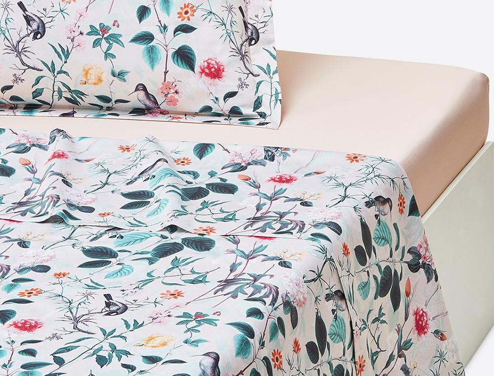 Linge de lit satin L'île aux colibris