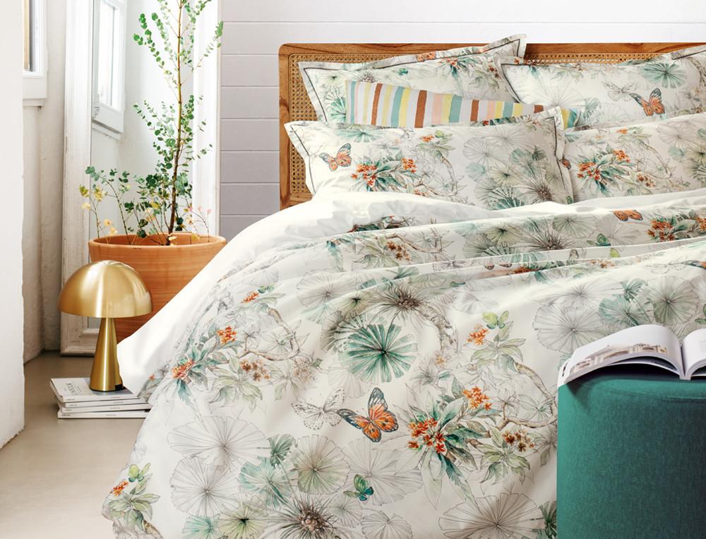 Linge de lit percale imprimé et uni blanc L'Ile des papillons
