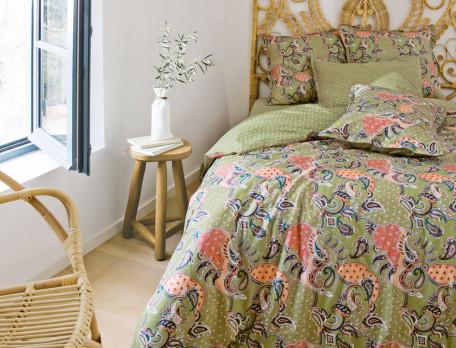 Linge de lit percale imprimé cachemire Les Baux de Provence