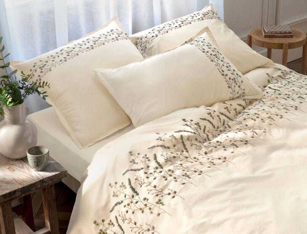 Linge de lit brodé en percale lavée 100% coton Mascarpone