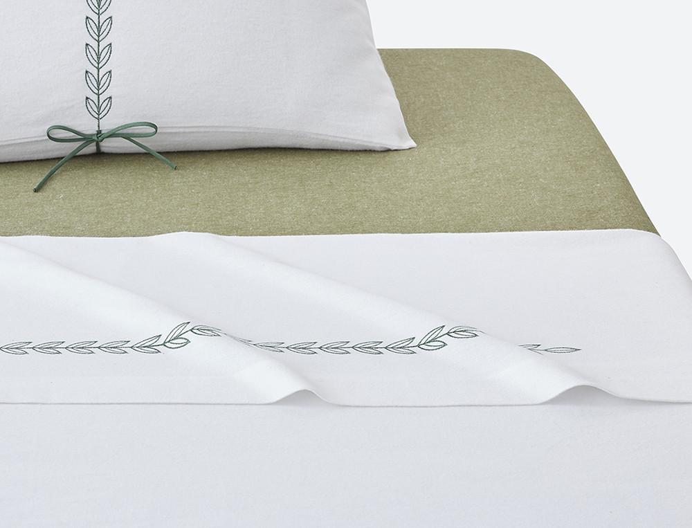 Linge de lit flanelle brodée Matin d'hiver