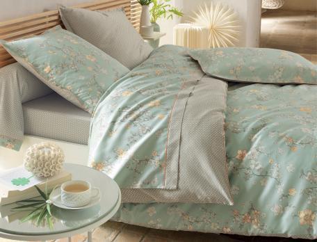 Housse de couette fleurie et petits motifs Nuit de Jade - Linvosges
