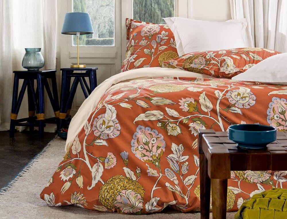Linge de lit imprimé floral multicolore percale coton Parade en fleurs