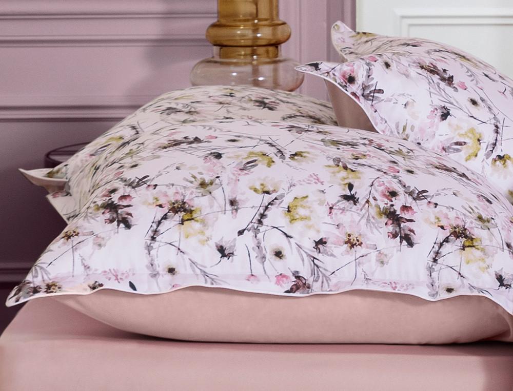 Linge de lit satin imprimé et percale unie Poésie fleurie