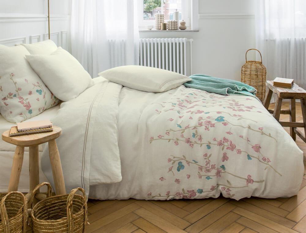 Linge de lit métis lavé lin et coton imprimée Rose trémière