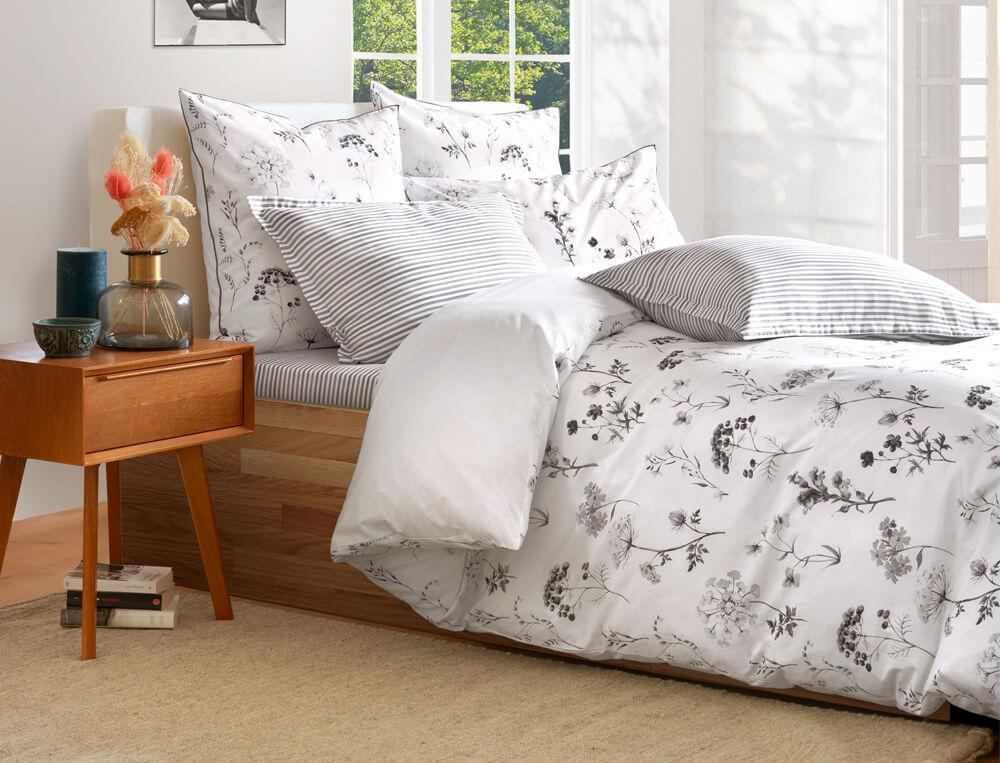 Linge de lit percale et satin Traits d'encre