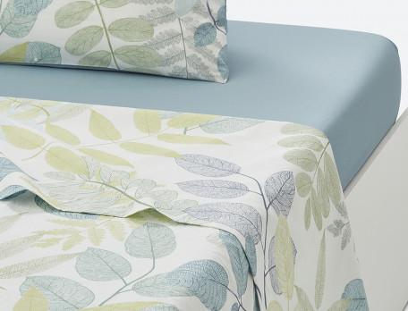Linge de lit percale imprimé Vert feuillage