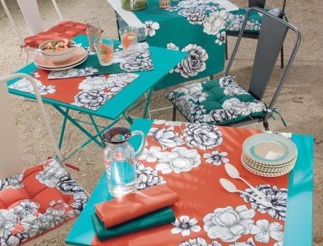 Linge de table imprimé grandes fleurs Bahamas