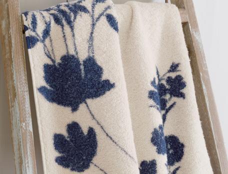 Linge de bain imprimé 100% coton Fleur indigo