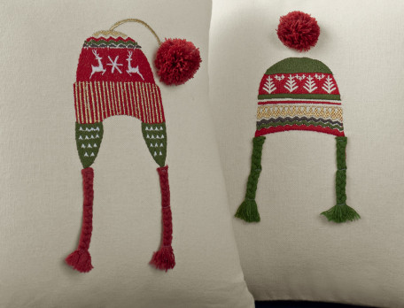 Lot 3 coussins brodés bonnets Esprit de Noël