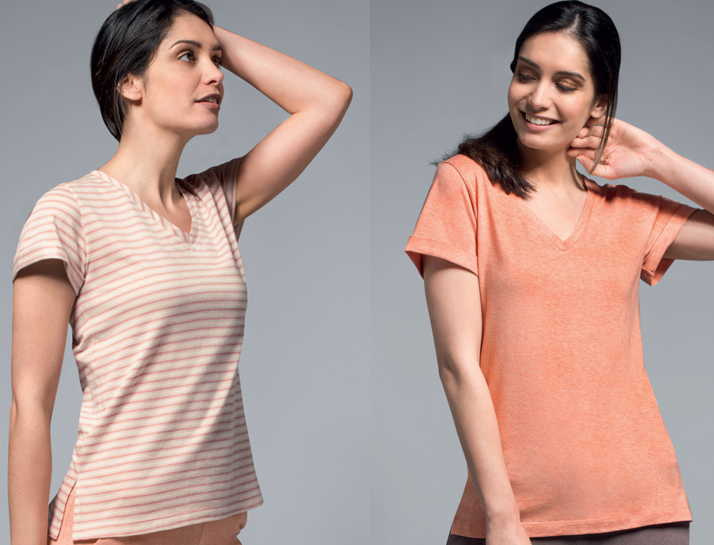 Lot 2 t-shirt 1 rayé tissé-teint et 1 jersey chiné Ambre