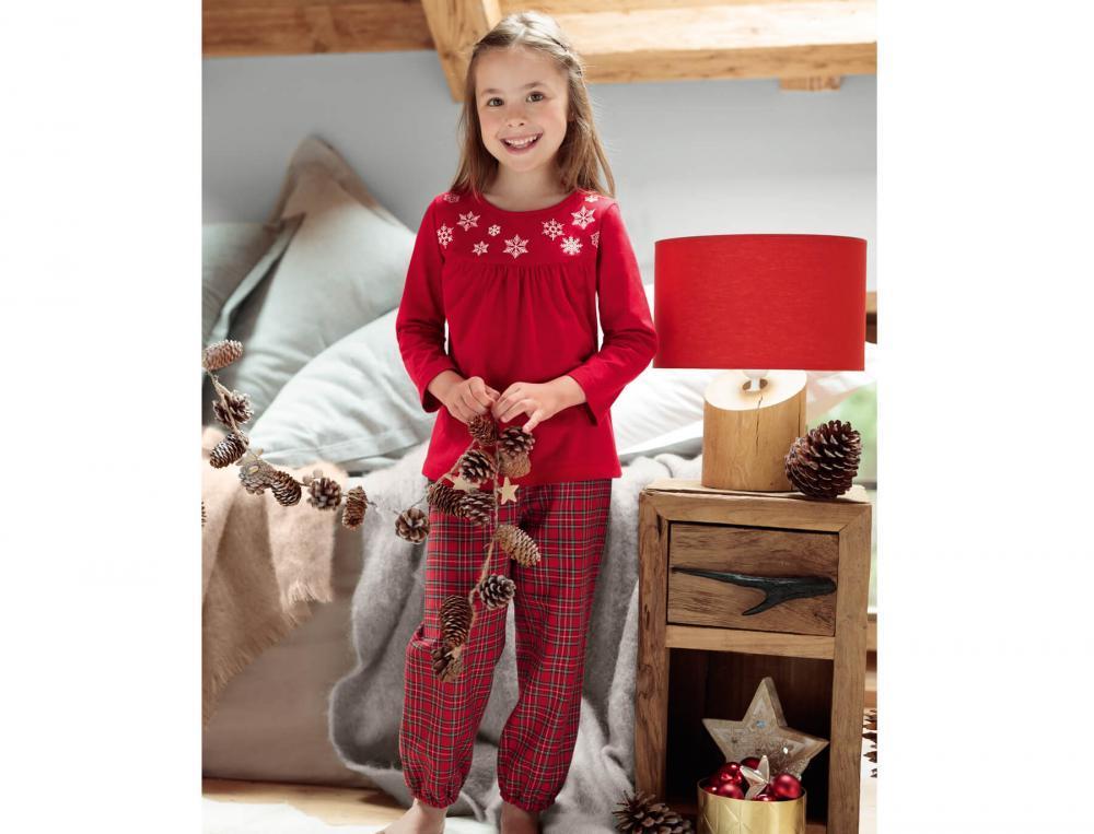 Mädchen Pyjama Schneeflocke Baumwolle Linvosges